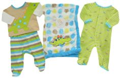 Absorba Boys 4 Piece Outfit Set 3M Pants Long Shirt / Sleeper Blanket Dinosaur