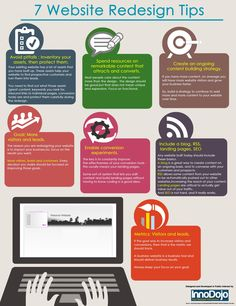 7 Website Redesign Tips http://fleetheratrace.blogspot.co.uk/2015/02/how-to-optimise-your-website-landing-page-for-better-conversions.html #webdesign #tips and tricks #infographic