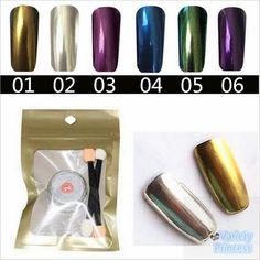 Nuevo 1 g/caja de la Astilla de Oro 6 Colores Espejo Brillo En Polvo Para uñas Brillo Del Polvo de Uñas de Arte DIY Pigmento de Cromo Decoración de Uñas herramientas