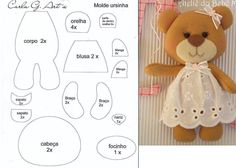 Animal seedlings, drawings and others to print - Animal seedlings, drawings and others to print - Felt Doll Patterns, Felt Crafts Patterns, Stuffed Toys Patterns, Needle Felted Animals, Felt Animals, Doll Crafts, Baby Crafts, Sock Dolls, Rag Dolls