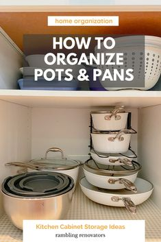 how to organize pots and pans, pots and pans storage ideas, pots and pans organization Kitchen Cabinet Storage, Storage Cabinets, Kitchen Cabinets, Pot Storage, Storage Ideas, Pot Organization, Pan Rack, Kitchen Necessities, Organize