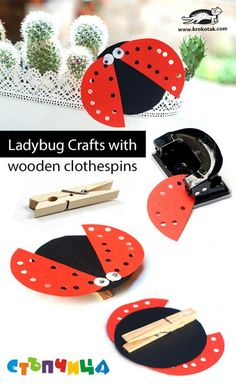 Ladybug Crafts with wooden clothespins (krokotak)
