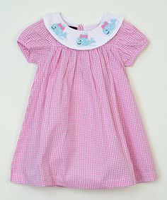 Take a look at this Pink Plaid Whale Smocked Dress - Girls today!