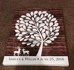 Wildewik Wood Wedding Tree Canvas | Guest Book Alternative | 75 Signature Spaces…