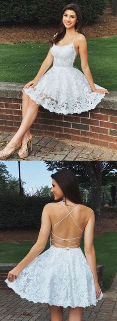 Customized service and Rush order are available. A Line Backless Lace White Homecoming Dresses Short Prom Dresses, White Lace Formal Dresses, Evening Dresses, Graduation Dresses White Homecoming Dresses, Hoco Dresses, Trendy Dresses, Sexy Dresses, Prom Gowns, Short Prom Dresses, Wedding Dresses, Party Dresses, Dress Prom
