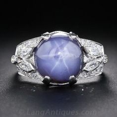 Art Deco Star Sapphire and Diamond Ring in Platinum - Antique & Vintage Gemstone Rings - Vintage Jewelry