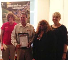 Bill Fordham is awarded Ranger of the Year - Arnhem region. (From left) Kakadu park manager Sarah Kerin, Ranger of the Year Bill Fordham, NT Minister Bess Price and Director of National Parks Sally Barnes