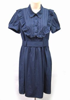 MONTEAU Blue Pleated Dress with Belt & Ruffles Women Size Large L #Monteau #Casual