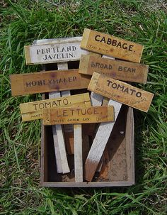 Home made wooden plant labels by Marj Joly, via Flickr