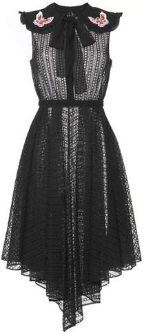 Black Peasant-Collar Eyelet Dress