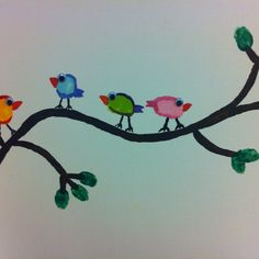 Fingerprint birds on canvas. :)