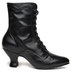 Oak Tree Farms Women's Veil Black Leather Kidskin Gold Rush Boots