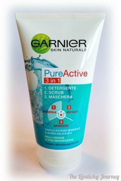 Details from my latest post! #thelipstickyjourney Garnier Pure Active 3 in 1: Cleansing, Scrub and Mask  #beautyblog #garnier #scrub #mask