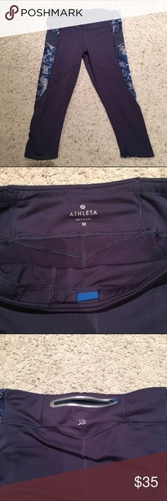 Althea Be Free Knicker Capri Pants In Steel Blue Perfect condition Athleta Capri pants with rear zip pocket. Great pants for running, lifting or just lounging around! Athleta Pants Capris