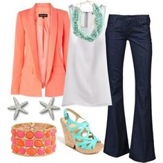 Love the coral jacket and dark denim!