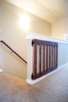 Custom Baby/Dog Gate DIY Baby Gate stained in Minwax Dark Walnut. (Many people use baby gates to keep dogs & pets from running away or to keep in certain areas of home) House Design, House, Custom Baby Gates, Home Projects, Home Improvement, Home Decor, Diy Baby Stuff, Home Diy, Stairs