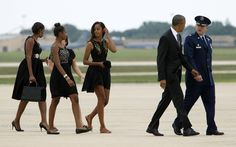 The Obama 4 en route to personal chef Sam Kass's Wedding at which Bernadine Dorn and husband Bill Ayers, two Weather Underground terrorists from the '70's who bombed buildings in NYC were also guests. You're known by the friends you keep and the Obama's are proud of that fact.