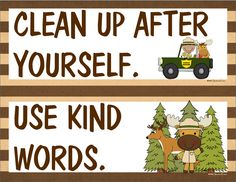 23 classroom rules in a woodland/forest friends/camping theme, plus 5 bathroom rules. $
