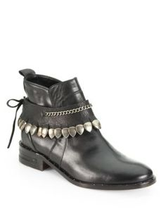 FREDA SALVADOR - Comet Chained Leather Ankle Boots - Saks.com