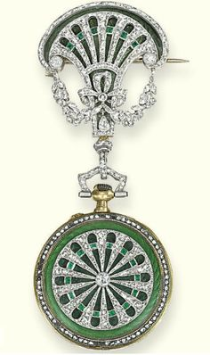 A BELLE EPOQUE DIAMOND, EMERALD AND ENAMEL FOB WATCH, BY TIFFANY  CO   The circular watch with gilt dial, Arabic numerals, blued steel hands, reverse with dark green guilloché enamel under rose-cut diamond and emerald wheel detail, to a similarly decorated fan-shaped surmount, mechanical movement, circa 1905, 6.8 cm high, with French assay mark for gold  Dial signed Tiffany  Co http://womensjewel.7asecond.net/
