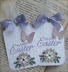 Here for your enjoyment are an adorable set of handmade Easter tags. They are adorned with texture, a stamped pale pink cherry tree image, a