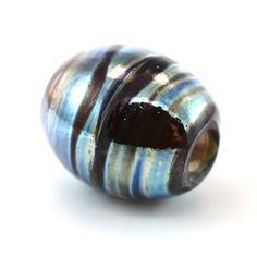 Silver Blues Large Hole Handmade Glass Lampwork Bead by GlassyFields on Etsy