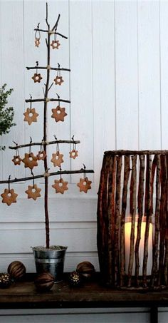 Branch Christmas Tree with Cookie Cutout Stars as Ornaments