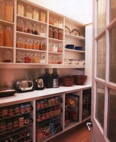 pantry--I love the counter idea between the top and bottom storage areas. pantry--I love t Pantry Laundry Room, Walk In Pantry, Kitchen Pantry, New Kitchen, Kitchen Counters, Countertop, Open Pantry, Organized Pantry, Pantry Storage