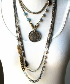 Sheer Addiction Jewelry - Blake - Vintage bronze pendant with hand wrapped beads, glass pearls, rhinestones and vintage metal.