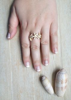 Starfish Ring, Off White Starfish, Beach Jewelry, Made to Order Ring, Wrapped Ring