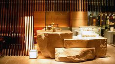 Internationaly based interior design firm Super Potato's official home page. Japanese Restaurant Design, Restaurant Interior Design, Interior Design Living Room, Design Bedroom, Cooking Restaurant, Restaurant Bar, Stone Feature Wall, Japanese Bar, Stone Bar