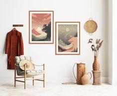 Orange Wall Art, Green Wall Art, Orange Walls, Modern Art Prints, Modern Wall Art, Bedroom Decor, Wall Decor, Mid Century Modern Art, Minimalist Art