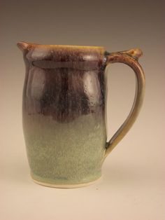 Small Pitcher/Creamer With Purple and Green by firebugpotter
