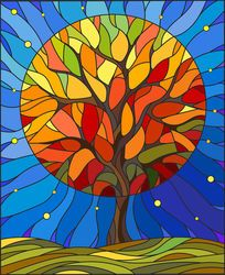 Illustration in stained glass style with autumn tree on sky background with the … Illustration in stained glass style with autumn tree on sky background with the stars Stock Vector – 68049380 Art Sea Glass Art, Stained Glass Art, Glass Painting Designs, Arte Pop, Autumn Trees, Autumn Art, Art Plastique, Tree Art, Tree Of Life Art