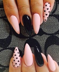 Best Gel Nail Art Designs For Long Best Gel Nail Art Designs For Long Nails 2018 Gel nails ar a lot of best nails since they need very little odds of obtaining raised and facilitate in reinforcing the real nails if utilised as a base c Gel Nail Art Designs, Cute Nail Designs, Nails Design, Nail Designs With Hearts, Heart Nail Designs, Black Nail Designs, Gorgeous Nails, Love Nails, Ongles Roses Clairs