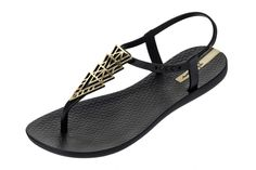 Ipanema Charm II Black Gold T Bar Women's Flat Sandals