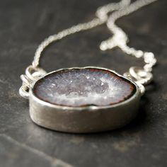 Grey Iris Geode Druzy Necklace in Sterling Silver