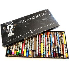 Vintage Prang Crayonex Box of Crayons- Vintage Art Supplies- 1950s... (15 CAD) ❤ liked on Polyvore featuring home, home decor, wall art, fillers, accessories, art, art supplies, items, black and white wall art and black and white home decor