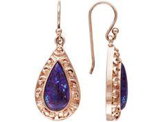 Timna Jewelry Collection (Tm) Cabochon Purple Turquoise Copper Dangle Earrings