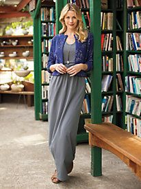 Women's Tasteful Knit Maxi Dress with Pockets
