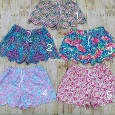 Lilly Pulitzer Inspired Monogrammed Shorts/Lounge Shorts/Scalloped Shorts/Personalized Lilly Pulitzer Inspired Shorts by DiDistitchin on Etsy