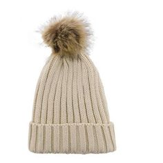Yoins Yoins Beige Beanie Hat (€5,78) ❤ liked on Polyvore featuring accessories, hats, beige, brimmed hat, cable knit beanie, snap brim hat, fur beanie hat and fur pom pom hat