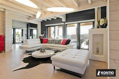 Maison Design Kontio Home Salon, Wood Interiors, Outdoor Furniture Sets, Outdoor Decor, Salon Design, Log Homes, Ground Floor, Decoration, Photo Galleries