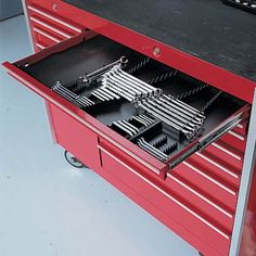 Wrench Drawer Organizer -$17.95- Handy and efficient These organizers will fit into the drawer of most roll-away tool boxes. Also, can be cut to fit into smaller tool chests. Wrench Organizer—holds open end, closed end, combination wrenches, etc. Made of durable plastic.