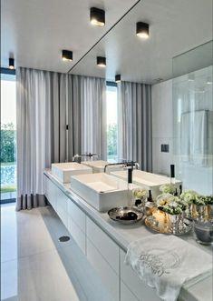 Braga House 1 / Casa do Passadiço Bathroom Interior, Modern Bathroom, Bathroom Mirrors, Bathroom Lighting, Interior Decorating, Interior Design, Design Art, Design Ideas, Beautiful Bathrooms