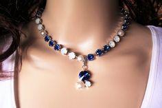 SWAROVSKI BRIDAL NECKLACE, sapphire, white opal, designer inspired, pearls, crystal, adjustable,dksjewelrydesigns