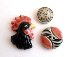 Handpainted Porcelain Buttons  Set of 3  by BitsAndPiecesEtc, $9.00