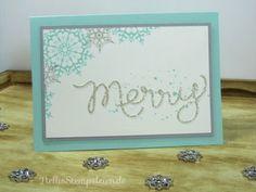 Weihnachtskarte mit dem Stampin' UP! Set Winterzauber und dem Thinlits Schriftzug Merry