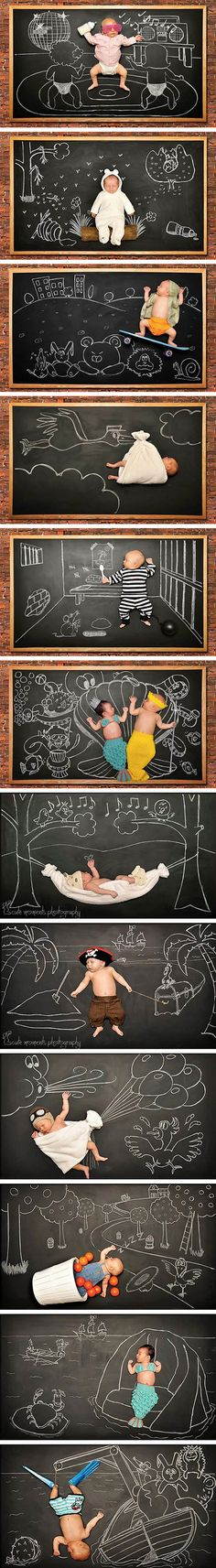 Photographer and mother, Anna Eftimie, collaborated with her husband to put together these amazing blackboard adventures to help celebrate the birth of her son.