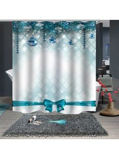 Waterproof Breathable Mildew Bathroom Partition Shower Curtain Christmas Print Pattern